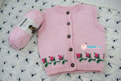 Hướng dẫn đan áo ghile đóa hồng cho bé