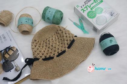 Hướng dẫn móc mũ nơ cho người lớn từ sợi cói cao cấp Nhật